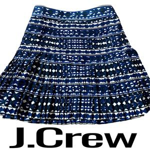 J.Crew Printed A-Line Pleated Skirt Womens Size 14